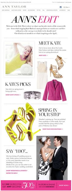 "Spring is here! And we can see it on the great Kate Hudson's newsletter. Say ""I do""! :)  /www.datemailman.com"