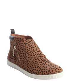 Rebecca Minkoff tan calf hair spotted animal print zip detail sneakers | BLUEFLY up to 70% off designer brands