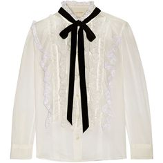 Marc Jacobs Pussy-bow ruffled lace-trimmed cotton-voile blouse (8,140 MXN) ❤ liked on Polyvore featuring tops, blouses, frill blouse, lace trim blouse, ivory blouse, pussy bow blouse and ruffle blouses