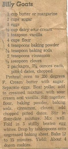 nice Billy Goats, presumably a cookie recipe, clipped from a Dallas, Tx. newspaper wa...