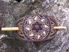 David star geometric hand carved leather hair barrette
