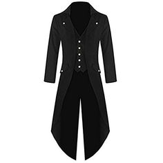 Antais Mens Gothic Tailcoat Steampunk Jacket Victorian Coat Costume Tuxedo Suit Halloween Party (XL, black)