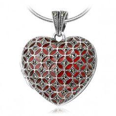 Srebrny otwierany wisiorek z markazytem - Biżuteria srebrna dla każdego tania w sklepie internetowym Silvea