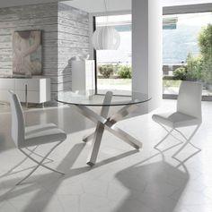 Mesa de comedor con tapa de cristal templado y base de acero inoxidable pulido Medidas Ancho / Fondo / Altura: Ø 110 / 120 / 130/ 150 x 75