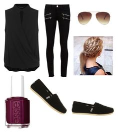 """""""Untitled #115"""" by ravekait ❤ liked on Polyvore featuring Miss Selfridge, Paige Denim, Essie, Forever 21 and TOMS"""