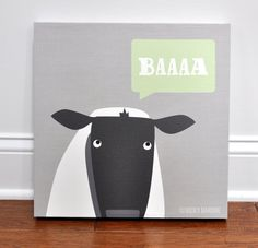 Baa Lamb Canvas Wall Art by VickyBaroneDesigns on Etsy, $69.00 - Great for a kid's rooms or nursery - Farm Animals