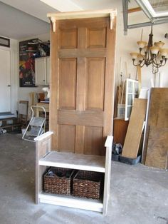 Old Door Hall tree bench by AugustDesignsWood on Etsy - Basket And Crate Old Door Bench, Entry Bench Diy, Old Wood Doors, Diy Wood Bench, Entryway Decor, Furniture Projects, Home Projects, Diy Furniture, Door Hall Trees