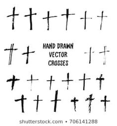 Similar Images, Stock Photos & Vectors of Crucifix cross hand drawn sketch paint brush vector icon set. Christianity orthodox, catholic religion isolated symbols set for Easter, funeral or grave memorial. Cross Tattoo For Men, Cross Tattoo Designs, Catholic Religion, Orthodox Catholic, Spiderman Tattoo, Cross Hands, Vector Hand, Sketch Painting, Illustration