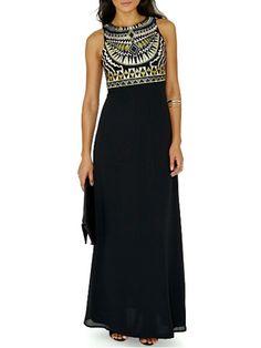 Black, Tribe Print, Sleeveless, Maxi Dress