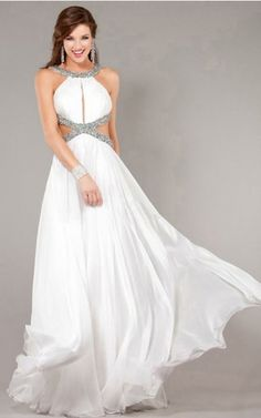 A-line Straps Sleeveless Chiffon White Prom Dress/Evening Dresses With Beading Prom Dresses Jovani, Prom Dresses 2015, Prom Dresses For Sale, Prom Party Dresses, Occasion Dresses, Formal Dresses, Prom 2015, Formal Wear, Long Dresses