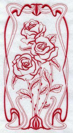 BLOOMING Art Nouveau - ROSE- Machine Embroidery Quilt Block (AzEB)