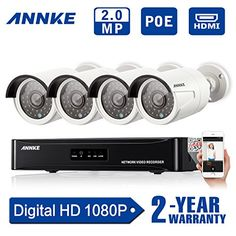 [19801080P HD] Annke 4CH 1080P PoE NVR w/ 4 Indoor/ Outdoor 100ft Night Vision 1080P HD Security Camera System (Power Over Ethernet 2.0 Megel-pixels Weatherproof Scan QR Code Quick Remote Access)