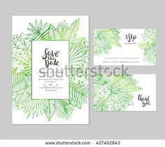 stock-vector-beautiful-wedding-set-with-tropical-palm-leaves-illustration-and-hand-lettered-phrases-creative-427402843.jpg (450×403)
