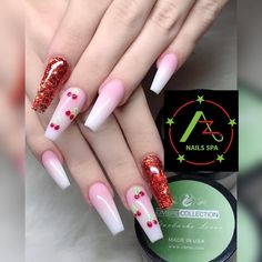 Long, coffin shape with red sparkles and cherry design on two nails Modern Nails, Amazing Nails, Nail Spa, Coffin, Fun Nails, Sparkles, Cherry, Shapes, Red
