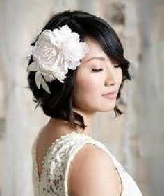 Easy Bridesmaid Hairstyles For short hair  This is the style I like best, but without the big flower.
