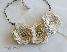 fabric flower necklace
