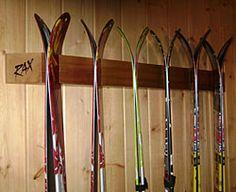 Golf Clubs Repurposed RAX Ski Storage and Display Rack - Handmade wood ski racks. Ski Rack, Best Golf Clubs, Diy Jewelry Findings, Diy Schmuck, Garage Storage, Storage Racks, Garage Shelving, Shelving Ideas, Garage Organization