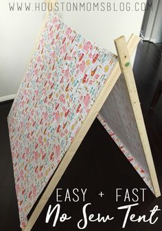 Love the look of DIY tents, but don't want to spend hours cutting and sewing? This easy and fast DIY tent tutorial has got you covered! Diy Party Tent, Diy Tent, Spa Sleepover Party, Slumber Parties, Montessori Baby, Easy Diy, Dyi, Mom Blogs, Activities For Kids