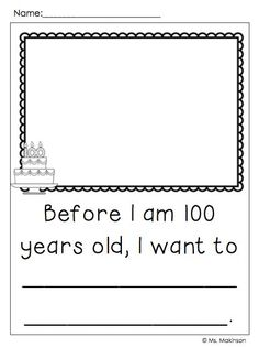 FREEBIE!! 100th Day of School Writing Prompts