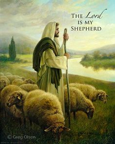 The Lord is my Shepherd. -Greg Olsen  (note from Greg: I grew up on a little sheep ranch in Idaho. In the spring my brothers & I would become sheepherders as we helped by Grandpa HERD the sheep to the mountains for summer grazing. We were great little SHEEP HERDERS! It wasn't until I traveled to the Holy Land many years later that I saw for the first time a SHEPHERD -LEADING his flock. It gave a whole new meaning to this verse.)