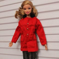 High quality Original red clothes Outfit for Barbie Doll Party A774 (1/6 scale doll jacket/coat - this looks like it's even a little big on Barbie ^^ But it'll fit 27cm Obitsu/Volks sized bjd just fine, as well as Azone Pure Neemo size M. Smaller 23/21 cm bodies as well as Blythe will probably be swimming in this coat, though.)