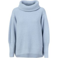 Maison Ullens Ribbed Roll Neck Sweater found on Polyvore featuring tops, sweaters, jumper, shirts, grey, gray top, ribbed sweater, grey wool sweater, roll neck sweater and rib shirt