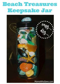Beach Treasures Keepsake Jar — Easy Great way to use your seashell collection! Family Crafts, Home Crafts, Holiday Crafts, Easy Crafts For Kids, Toddler Crafts, Diy And Crafts, Beach Jar, Seashell Crafts, Happy Kids