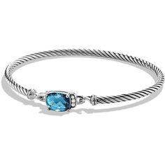 David Yurman Women's Petite Wheaton Bracelet with Diamonds ($650) ❤ liked on Polyvore featuring jewelry, bracelets, blue topaz, david yurman jewellery, diamond jewellery, diamond bangles, david yurman and diamond jewelry