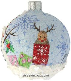 Christmas Icons Orb, Patricia Breen Designs (Blue, Gifts/Presents, Hearts, Holly, Pearl/white, Reindeer, Snowflakes, Snowman, Stripe
