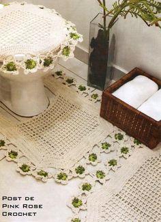 Jogo Tapete Croche Banheiro - PRoseCrochet