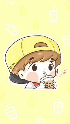Kpop Exo, Exo Kokobop, Exo Cartoon, Exo Anime, Baekhyun Wallpaper, Kpop Backgrounds, Exo Fan Art, Cute Chibi, Kpop Fanart