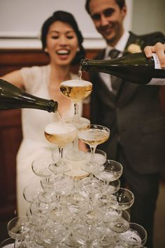 Champagne Tower | Lucy Spartalis Photography on @polkadotbride via @aislesociety