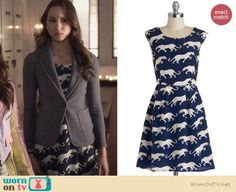 Spencer's blue panther print dress on Pretty Little Liars. Outfit Details: http://wornontv.net/23440 #PrettyLittleLiars #fashion #PLL