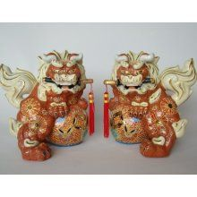 Chans Oriental Traditional Japanese Fu Dogs - Hand Glazed Porcelain