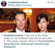 """""""Benedict Cumberbatch and Sophie Hunter in Edinburgh; 13 March 2015"""