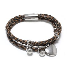 Leather  Bracelet with Heart