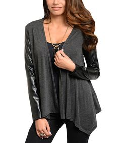 Look at this Charcoal and leather arms open cardigan 13.99