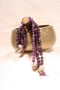 Rich Purple Amethyst and Large Sterling Silver 108 by QuietMind, $165.00