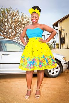 XiTsonga traditional cocktail strapless dress by Mx-creations: 012 320 8981 Traditional Wedding Attire, African Traditional Wedding, Traditional Fashion, Traditional Outfits, African Print Dresses, African Fashion Dresses, African Dress, African Outfits, African Prints