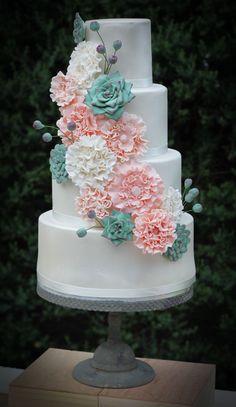 Pretty four tiered wedding cake.