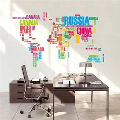 World Map http://walldecordeals.com/product/colorful-letters-world-map-wall-stickers-living-room-home-decorations-creative-pvc-decal-mural-art-zooyoo035-diy-office-wall-art/