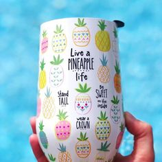 Summertime calls for a new festive tumbler! 🍍☀️ Live a pineapple life stand tall be sweet and were a crown Pineapple Express, Cute Pineapple, Pineapple Gifts, Pineapple Tumbler, Pineapple Clothes, Pineapple Kitchen, Pineapple Room, Cork, Cute Cups