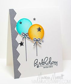 Birthday—inking with Distress Inks gives the balloons a very realistic look.