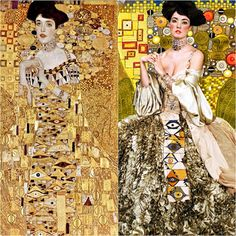 "Carol Gamarra & Mario Ville, ,Spanish fashion stilists (Kattaca) , photographed by Moisès Gonzales : ""La Esencia de Klimt = The Essence of Klimt "" Gustav Klimt, Klimt Art, Fashion Shoot, Fashion Art, Film Fashion, Tableaux Vivants, Woman In Gold, Spanish Fashion, Getty Museum"
