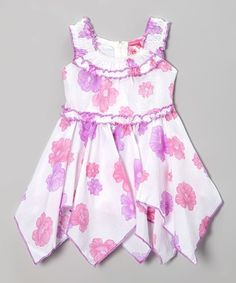 Lilac & White Floral Handkerchief Dress - Toddler & Girls