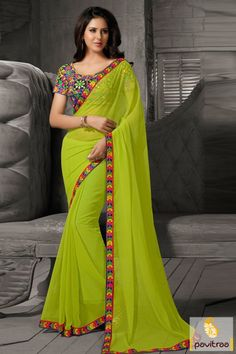 Wonderful look with yellow green chiffon saree online with low price and online stock up. It is decorated with fancy lace border and heavy work on blouse.  http://www.pavitraa.in/store/party-wear-saree/ Call/ WhatsApp : +91-7698234040  #partywearsaree, #designersaree, #festivalsaree, #saree, #designerblouse, #onlinesaree, #emboiderysaree, #bollywoodsaree, #diwalifestivalsaree, #discountoffer, #wholesalesaree, #festivaloffer