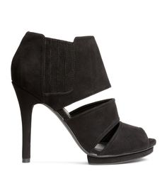 Peep-toe ankle boots in imitation suede with covered elastic panels at sides. Rubber soles. | H&M Shoes