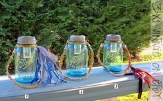 Vintage Mason Jar Solar Light  with Hemp Rope Hanger by 3x1vintage, $40.00