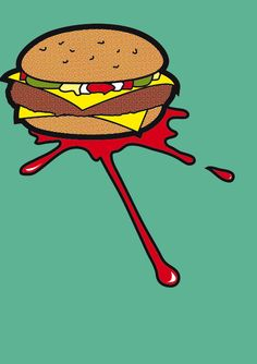 double cheese burger pop art