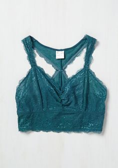 It's easy to make time for yourself in the luxury of this teal bralette! Your favorite way to indulge in this pretty underpinning? Recording the particulars of your imagination, for the intricate lace detailing of this ModCloth-exclusive intimate reflect the uniqueness of your memory. Psst - this item will be available in August!